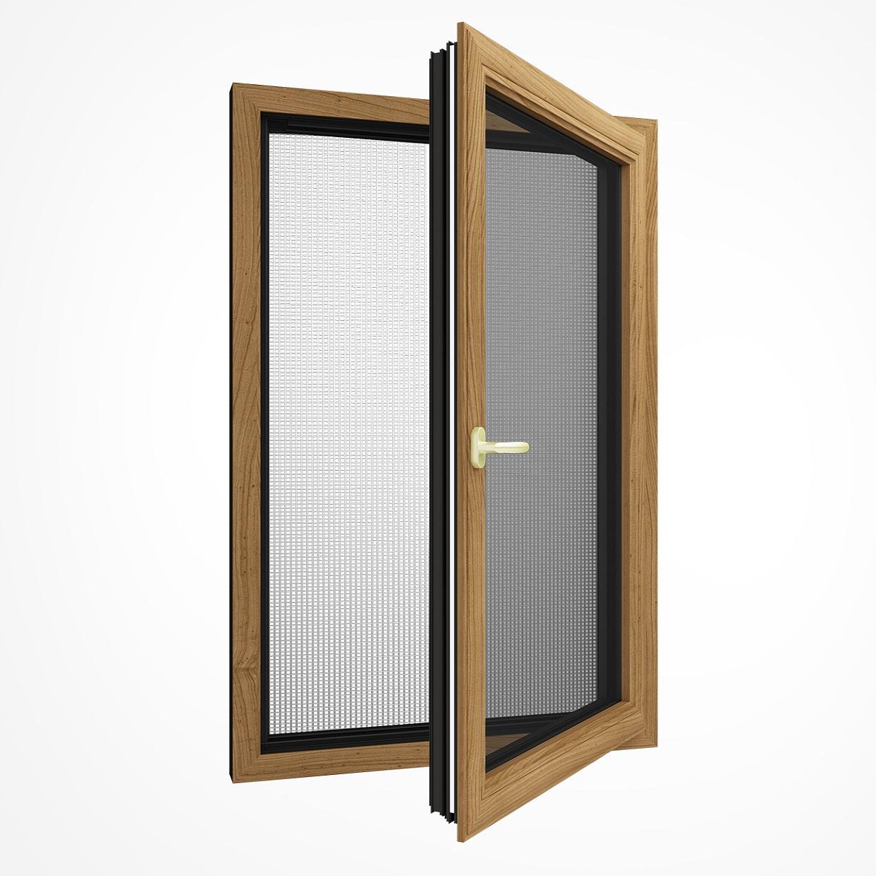 SJ-85系列铝木复合钢网一体内开内倒窗